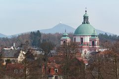 Novy Falkenburk castle in Jablonne v Podjestedi and Jested Tower in Liberec, Czech Republic Royalty Free Stock Photography