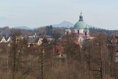 Novy Falkenburk castle in Jablonne v Podjestedi and Jested Tower in Liberec, Czech Republic Stock Photo