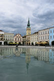 Novy Jicin, Czech Republic. Masaryk Square in Novy Jicin, Czech Republic - houses reflecting in water of local fountain Stock Photography