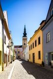 Novy Jicin, Tjeckien gammal gatatown Arkivbilder