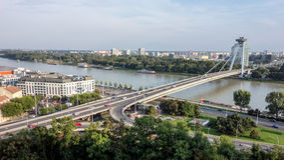 Novy most (New Bridge) in Bratislava. Famous New Bridge (Novy most) in Slovakia across the river Danube Stock Images