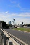 Novy Most or New Bridge in Bratislava, Slovakia. With UFO restaurant on top of pylon Stock Photo