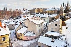 Novy Svet en hiver, Prague, République Tchèque Photographie stock