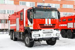 Iveco AMT Trakker. Novyy Urengoy, Russia - April 30, 2015: Fire truck Iveco AMT Trakker in the city street royalty free stock image
