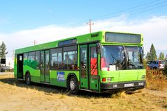 MAZ 103. NOVYY URENGOY, RUSSIA - AUGUST 30, 2012: Green urban bus MAZ 103 at the countryside stock photos