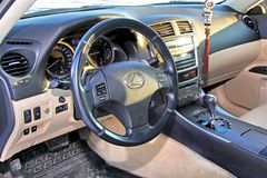Lexus IS250. Novyy Urengoy, Russia - September 28, 2014: Interior of the motor car Lexus IS250 Royalty Free Stock Images