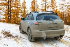 Infiniti FX35. NOVYY URENGOY, RUSSIA - SEPTEMBER 30, 2017: Motor car Infiniti FX35 at the countryside Stock Image