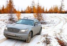 Infiniti FX35. NOVYY URENGOY, RUSSIA - SEPTEMBER 30, 2017: Motor car Infiniti FX35 at the countryside Royalty Free Stock Photos
