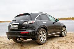 Infiniti FX45. Novyy Urengoy, Russia - September 14, 2014: Motor car Infiniti FX45 at the countryside Royalty Free Stock Photos