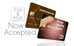 Now accepting HSA and FSA debit cards. That is the message of this illustration about health savings accounts and flexible spending accounts royalty free illustration