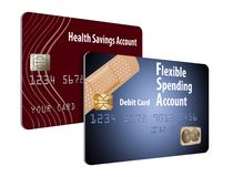 Now accepting HSA and FSA debit cards. That is the message of this illustration about health savings accounts and flexible spending accounts vector illustration