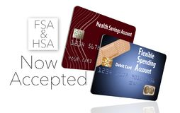 Now accepting HSA and FSA debit cards. That is the message of this illustration about health savings accounts and flexible spending accounts stock illustration
