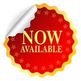 Now available. Red now available label over white stock illustration