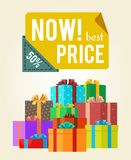 Now Best Price Push Buttons Promo Label on Banner. With gift boxes vector poster with piles of presents in color wrapping paper with festive bows Stock Image