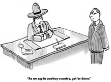 Now. Business cartoon about a cowboy boss wanting work done now Royalty Free Stock Image