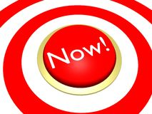 Now! Button. 3d illustration of a 'Now!' button at the center of target Stock Photography