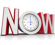Now Clock Measuring Time for Urgency or Emergency. The word Now with a clock in the letter O representing an urgency or emergency and important need to beat a Stock Photo