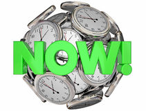 Now Clocks This Moment Time Urgent Word Stock Photography