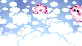 Sweet cartoon title background. Pink baby elephant, who wants to be a unicorn or a pony is flying in the skies. She is now elephant, but in future... who knows stock illustration