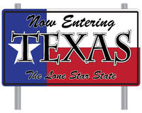 Now Entering Texas Sign. A now entering Texas signpost isolated on a white background Royalty Free Stock Images
