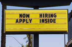 Now Hiring - Apply Inside. Billboard sign Stock Images