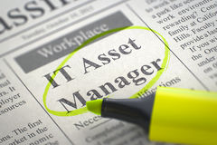 Now Hiring IT Asset Manager. 3D. Stock Image