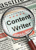 Now Hiring Content Writer. 3D. Stock Image