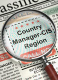 Now Hiring Country Manager-CIS Region. 3D. Loupe Over Newspaper with Small Ads of Job Search of Country Manager-CIS Region. Country Manager-CIS Region stock photos