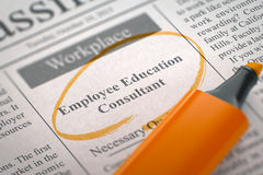 Now Hiring Employee Education Consultant. 3D. Royalty Free Stock Photos