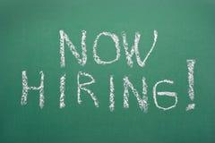 Now hiring!. Handwritten job adverisement Stock Photo