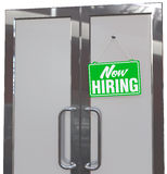 Now Hiring help sign on business door. Now Hiring Help Wanted sign on business company or retail store door vector illustration