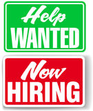 Now Hiring Help Wanted business signs. Two retail store window style signs for human resources Help Wanted and Now Hiring Stock Image