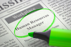 Now Hiring Human Resources Manager. 3d. Stock Photo
