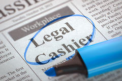 Now Hiring Legal Cashier. 3D. Royalty Free Stock Image