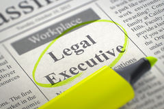 Now Hiring Legal Executive. 3D. A Newspaper Column in the Classifieds with the Small Ads of Job Search of Legal Executive, Circled with a Yellow Highlighter royalty free stock photos