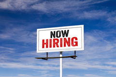 Now Hiring Message on Billboard Stock Photography