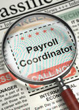 Now Hiring Payroll Coordinator. 3D. Royalty Free Stock Photography