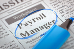 Now Hiring Payroll Manager. 3D Render. A Newspaper Column in the Classifieds with the Small Ads of Job Search of Payroll Manager, Circled with a Blue Marker Royalty Free Stock Photo