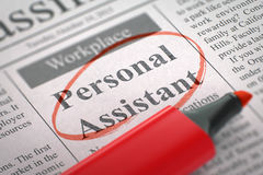 Now Hiring Personal Assistant. 3D. Personal Assistant - Small Ads of Job Search in Newspaper, Circled with a Red Highlighter. Blurred Image. Selective focus Stock Image