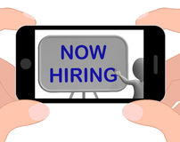Now Hiring Phone Means Job Vacancy And Employment Royalty Free Stock Images