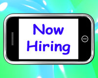 Now Hiring On Phone Shows Recruitment Online Hire Jobs Stock Image