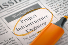 Now Hiring Project Infrastructure Engineer. 3D. Stock Image