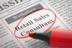 Now Hiring Retail Sales Consultant. 3D. Royalty Free Stock Photos