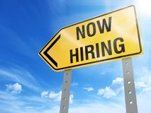 Now hiring sign. On blue sky background,3d rendered Stock Image