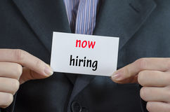 Now hiring text concept Stock Photo