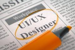 Free Now Hiring UIUX Designer. 3D. Royalty Free Stock Image - 78977776