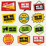 Now hiring vector signs. Employment opportunity stickers Stock Photos