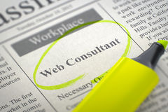 Now Hiring Web Consultant. 3D. Royalty Free Stock Photos
