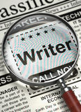 Now Hiring Writer. 3D. Column in the Newspaper with the Searching Job of Writer. Writer - CloseUp View Of A Classifieds Through Loupe. Concept of Recruitment Stock Photography
