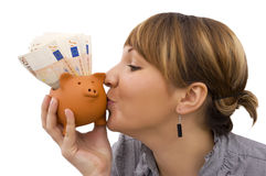 Now I'm glad about my savings Stock Photo